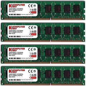 Komputerbay 16GB (4 X 4GB) DDR3 DIMM (240 pin) 1333Mhz PC3 10600 / PC3 10666 16 GB KIT