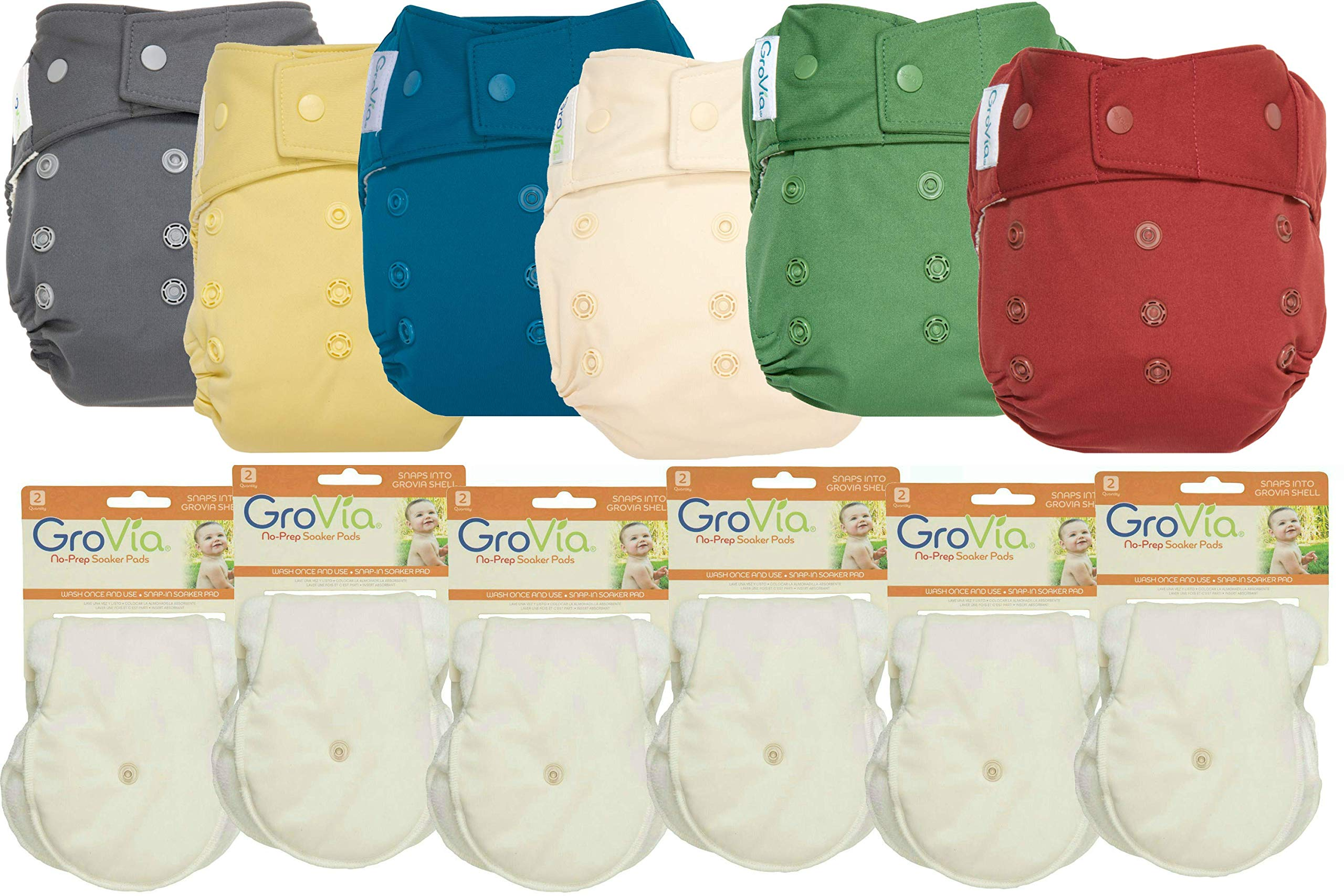GroVia Hybrid Part Time Package: 6 Shells + 12 No Prep Soaker Pads (Color Mix 8 - Snap)