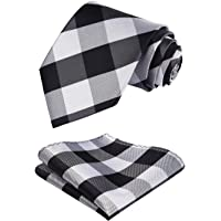 HISDERN Mens Lovely Tie Set Formal Silk Tie + Handkerchief Woven Classic Stripe Men's Necktie & Pocket Square Set