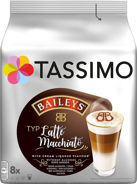 Tassimo - Cápsulas de Latte Macchiato con Baileys, café con aroma de crema de licor, Café con leche, 8 unidades, 264 g