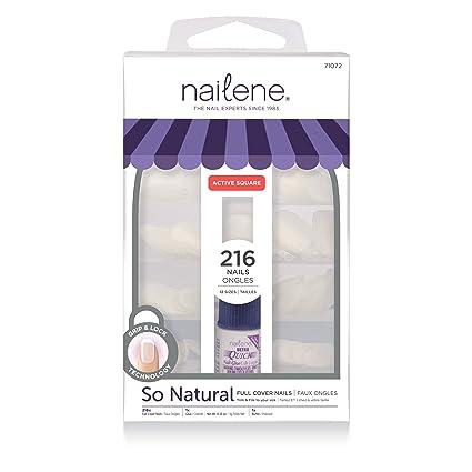 Nailene, Uñas postizas cortas, cuadradas, cobertura total, incluye 200 uñas