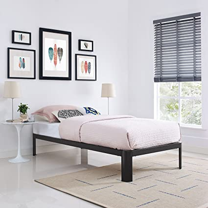 1de86aa8a9db76 Amazon.com: Modway Corinne Steel Twin Modern Mattress Foundation Platform  Bed Frame with Wood Slat Support in Brown: Kitchen & Dining