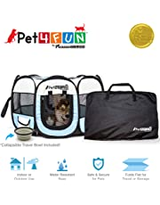 "PET4FUN¨ PN935 35"" Portable Pet Puppy Dog Cat Animal Playpen Yard Crates Kennel w/ Premium 600D Oxford Cloth, Tool-Free Setup, Carry Bag, Removable Security Mesh Cover/Shade, 2 Storage Pockets (BLUE)"