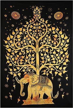 Elefant Wandteppich Einzelbett Indischer Hippie Tagesdecke Dekor Tapisserie