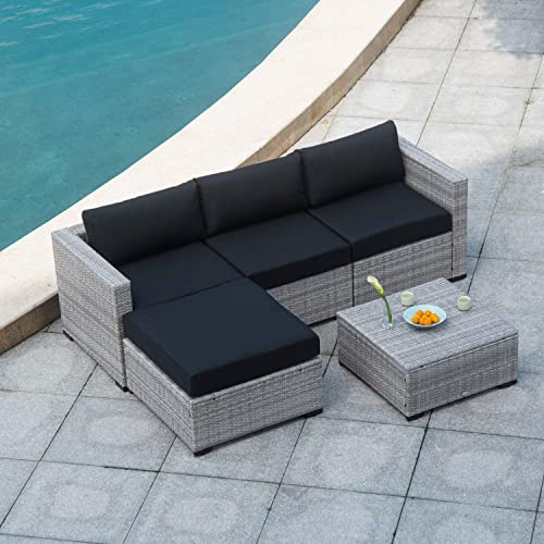 Auro Outdoor Furniture 5-Piece Sectional Sofa Set All-Weather Gray Wicker with Water Resistant Olefin Cushions for Patio Backyard Porch Pool Incl. Waterproof Cover Clips Black