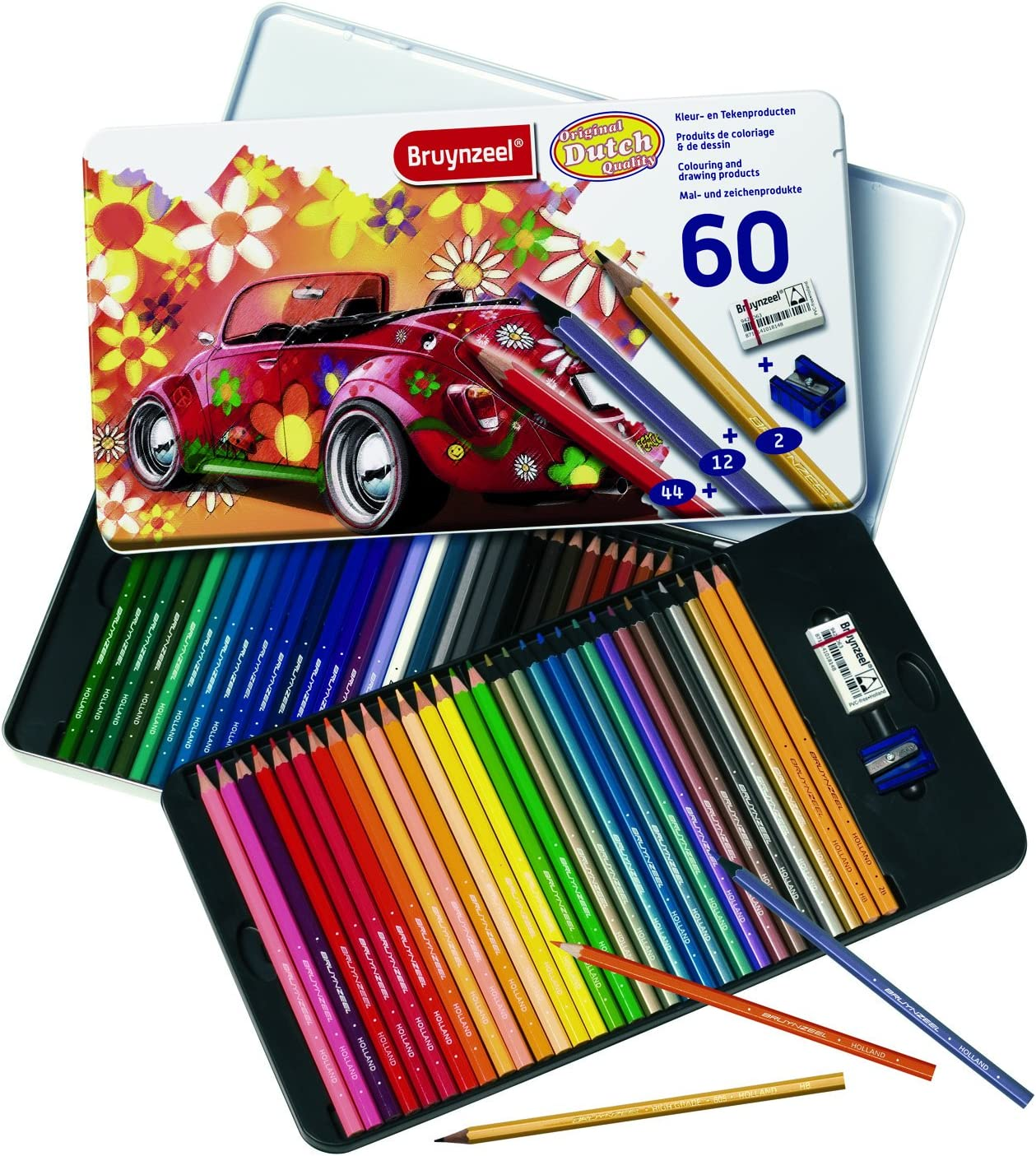 Bruynzeel Colour Pencil Set W//Tin 60//Pkg-Super Sixties Beetle