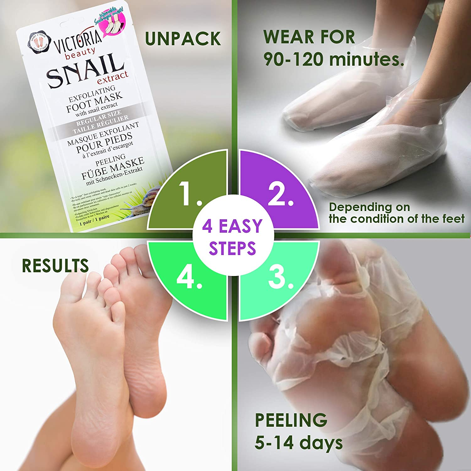 Exfoliating Foot Mask with Snail Extract Regular Size - Sock ...