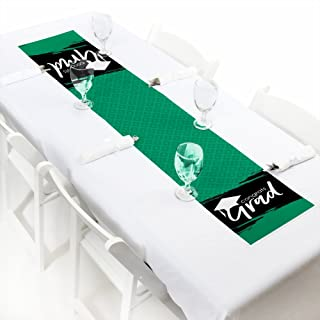 product image for Big Dot of Happiness Green Grad - Best is Yet to Come - Petite Green Graduation Party Paper Table Runner - 12 x 60 inches