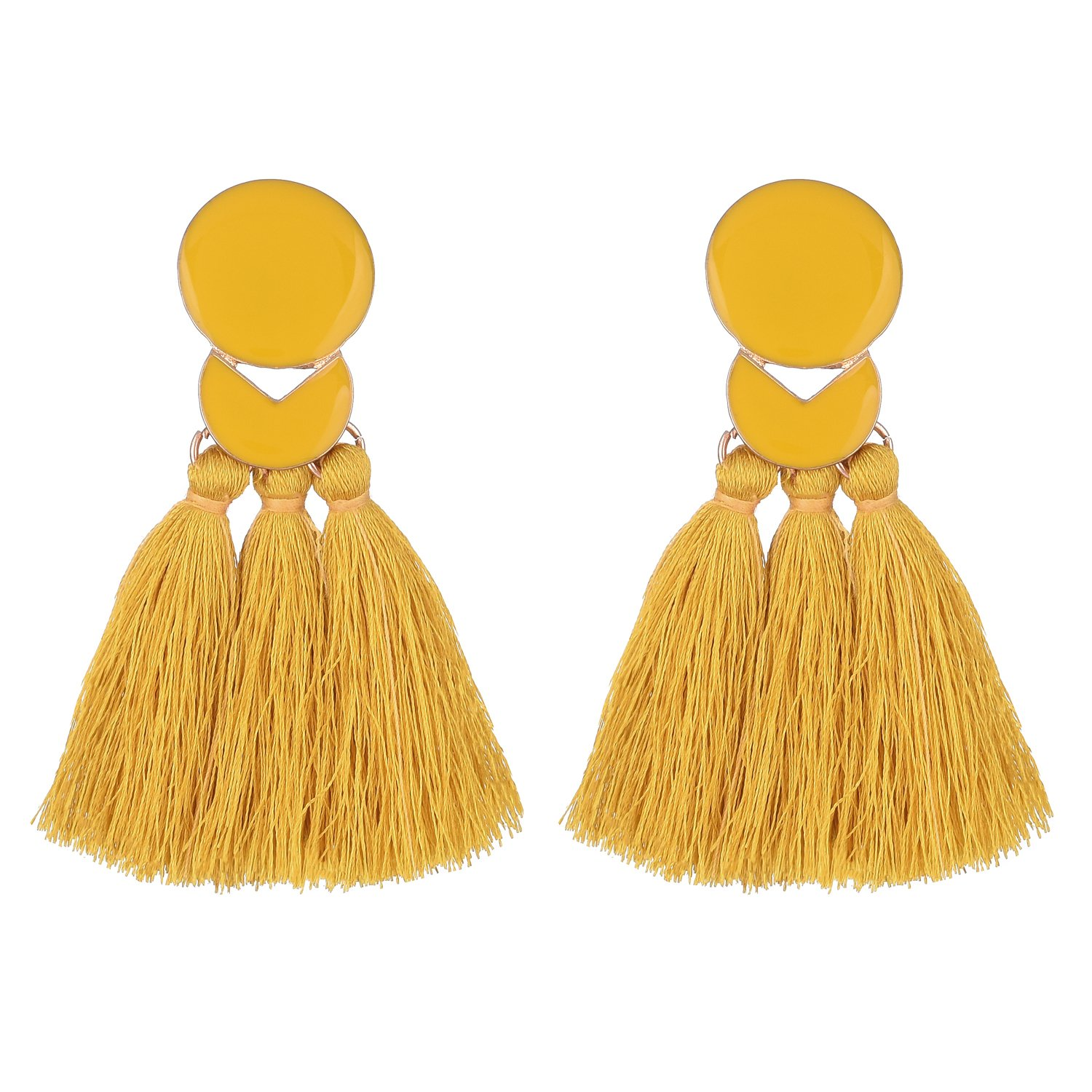 D EXCEED Fashion Statement Thread Tassel Earrings Bohemian Chandelier Tassel Earrings Enamel Stud Earrings for Women Yellow