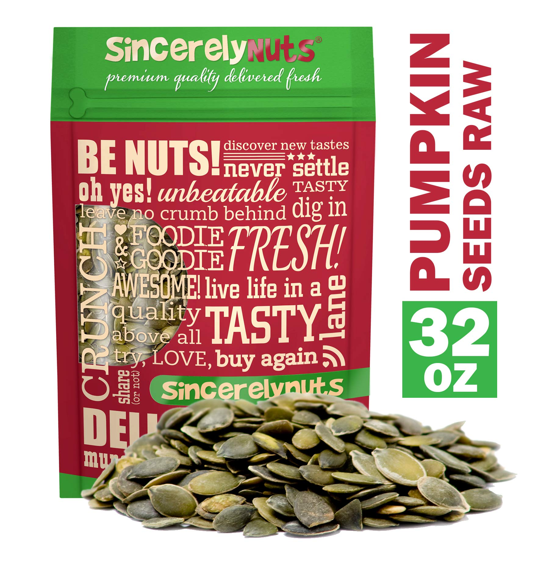 Sincerely Nuts - Raw Shelled Pepitas Pumpkin Seeds (Unsalted) (2lb bag) | All Natural Snack Food for Eating or Cooking | Vegan, Kosher, Gluten Free Food | Protein & Antioxidants