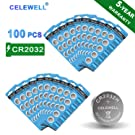 【5-Year Warranty】 CELEWELL 100 Pack CR2032 Battery CR2032H 230mAh 3 Volt Lithium Battery Coin Button Cell