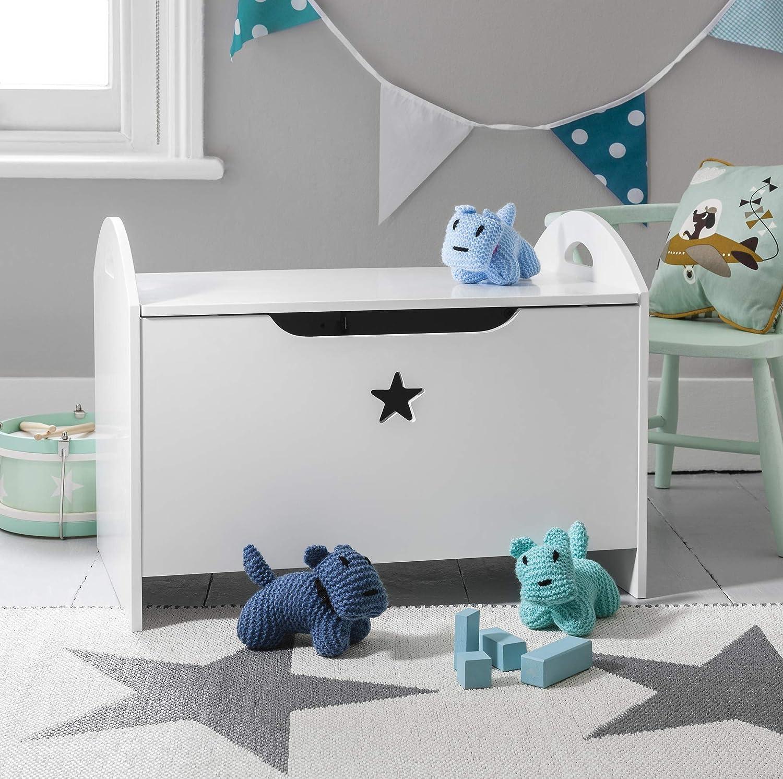 Toy Box in White with Star Design Toy Organiser Zeta Noa and Nani