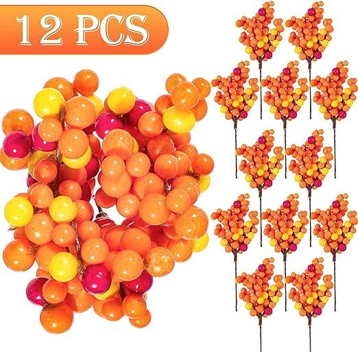 Amazon Com Whaline Orange Berry Twig Stem 12 Pack Artificial