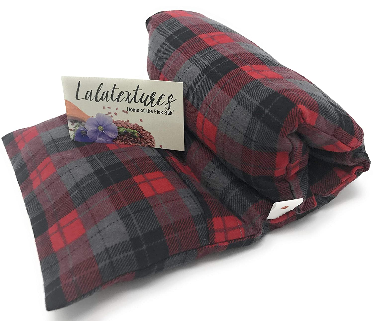 Unscented Large Microwave Heating Pad With Washable Cover | Flax Sak | Hot and Cold Pack | Christmas Red and Charcoal Grey