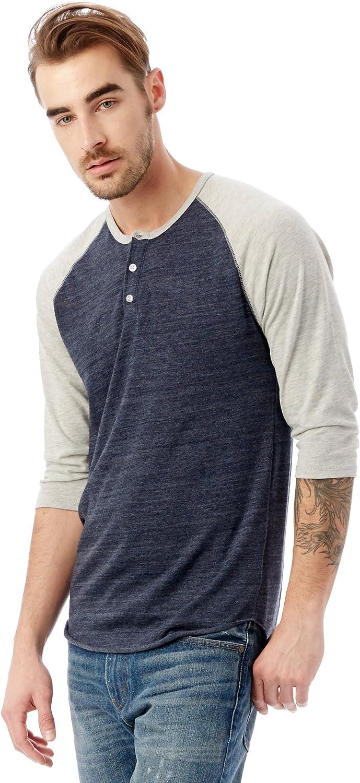 Alternative Mens Raglan 3//4 Sleeve Henley Shirt