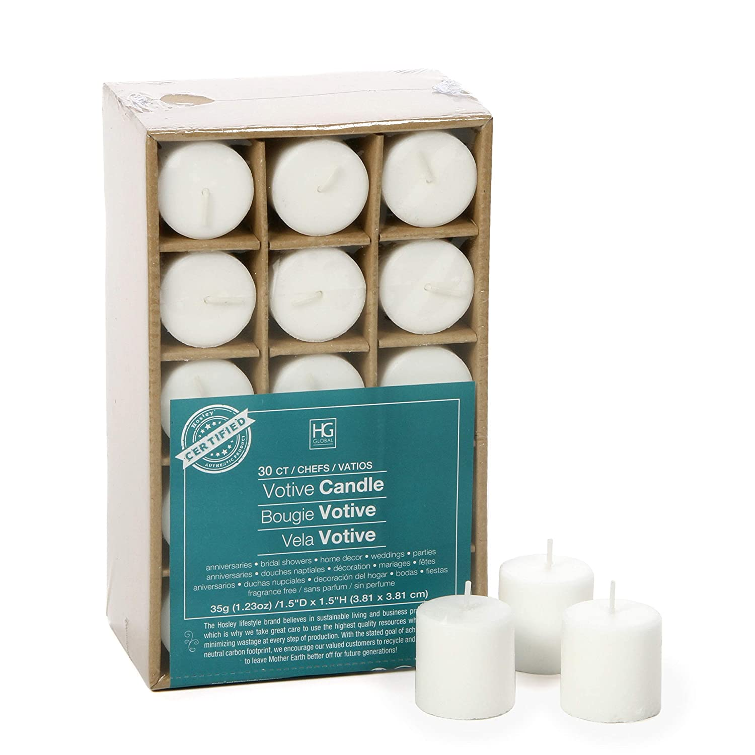 Hosleys Set of 30 White Unscented Votive Candles. up to 10 Hour Burn .Bulk Buy. Wax Blend. Ideal for Wedding, Spa, Aromatherapy, Party, Everyday Use O2 HG GLOBAL
