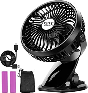 Stroller Fan Clip on Fan Rechargeable Battery Operated Fan - Powerful Airflow Low Noise - SWZA Portable Clip Fan for Baby Stroller Travel Hiking Camping (2 Batteries and 1 Reusable Mesh Bag Included)