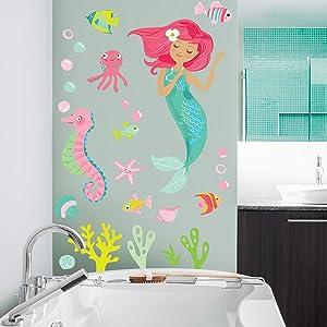 Wallies Vinyl Wall Decals, Mermaid Wall Sticker for Girls Bedroom or Bathroom, 26 Pc