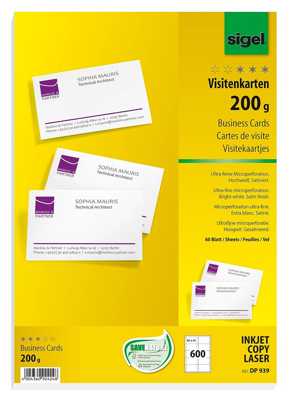 Sigel DP939 Biglietti da visita, microperforati, bianco, 85x55 mm (A4), 200 g, 600 pz.=60 fg.
