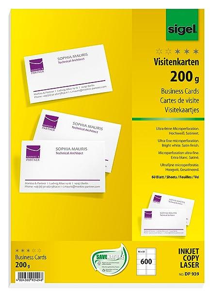 Sigel Dp939 Visitenkarten Hochweiß 600 Stück 60 Blatt 200 G 85x55 Mm Beidseitig Bedruckbar Und Satiniert Weitere Stückzahlen