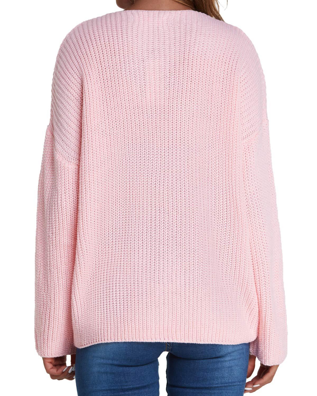 kenoce långärmad vardaglig tröja t-shirt v-ringad blus toppar solid lös tröja tunika t-shirt 03-pink