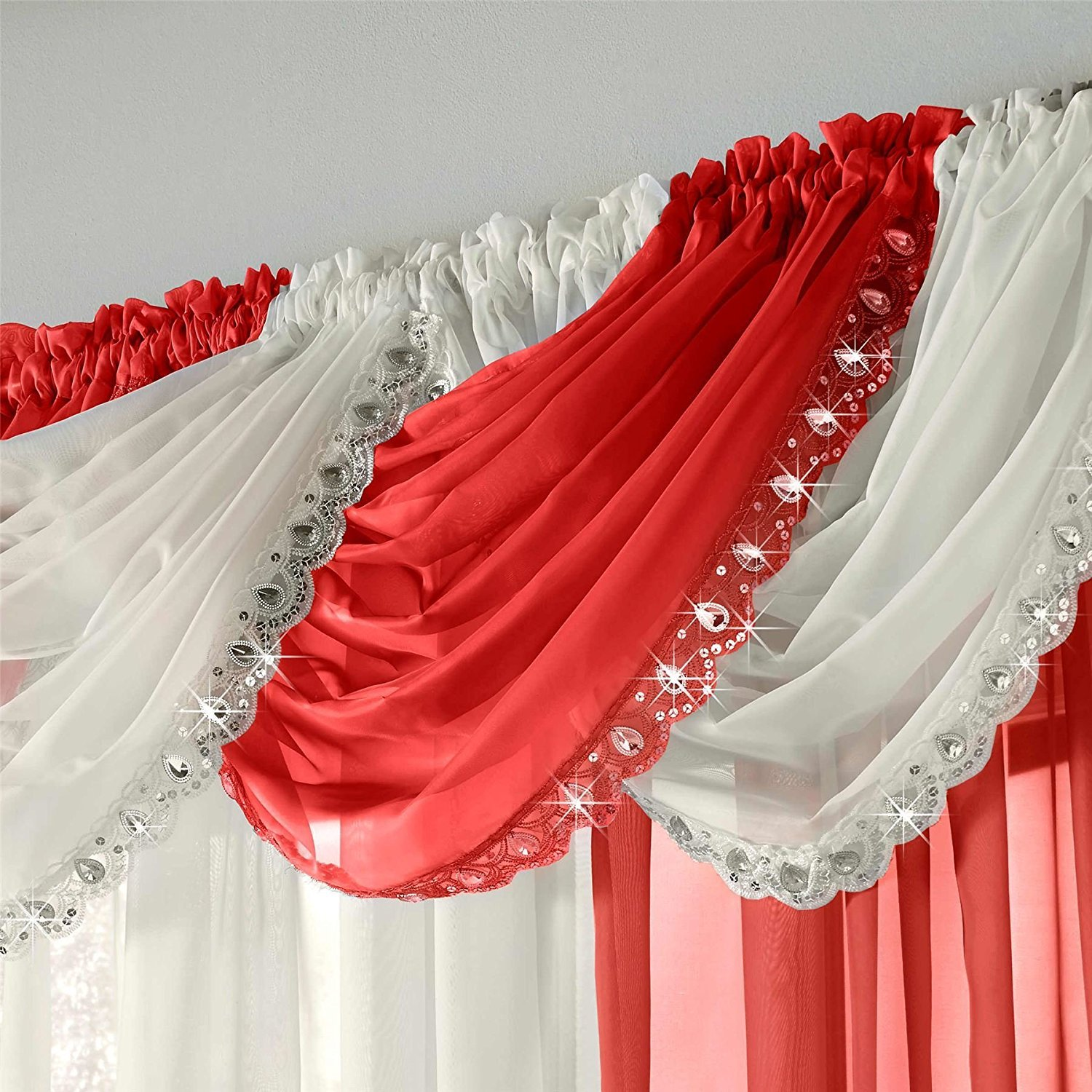 Glitzy Sparkle Jewelled Crystal Sequin Trim Voile Curtain Swag (Butter MilkCream) Maple Textiles