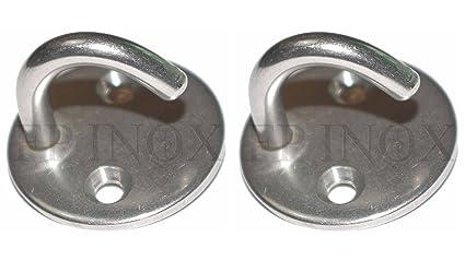 Gancho sobre platina (lote de 2) redonda diámetro 50 mm acero inoxidable A4 –