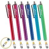 aibow タッチペン スマートフォン タブレット スタイラスペン iPad iPhone Android 交換式 6本セット 6mm (ピンク、アクアブルー、グリーン、ブルー、レッド、パープル)