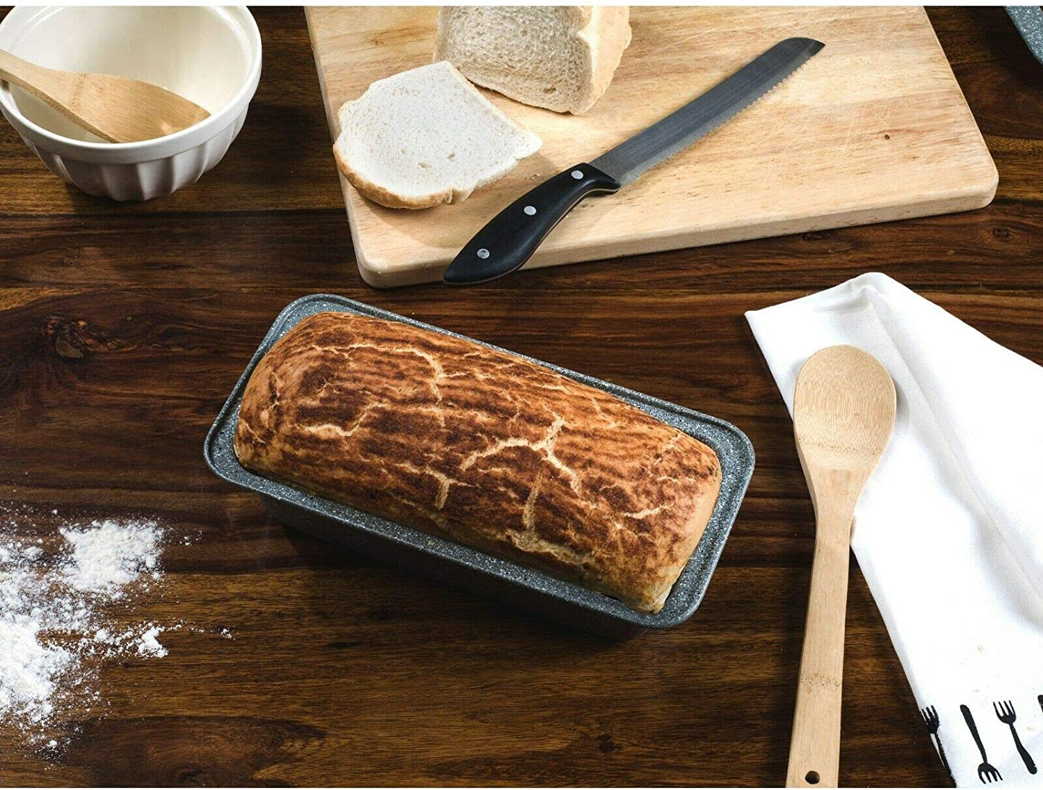 3 Piece Salter/® Marble Collection Carbon Steel Roasting Tray Loaf Tin and Round Baking Tray