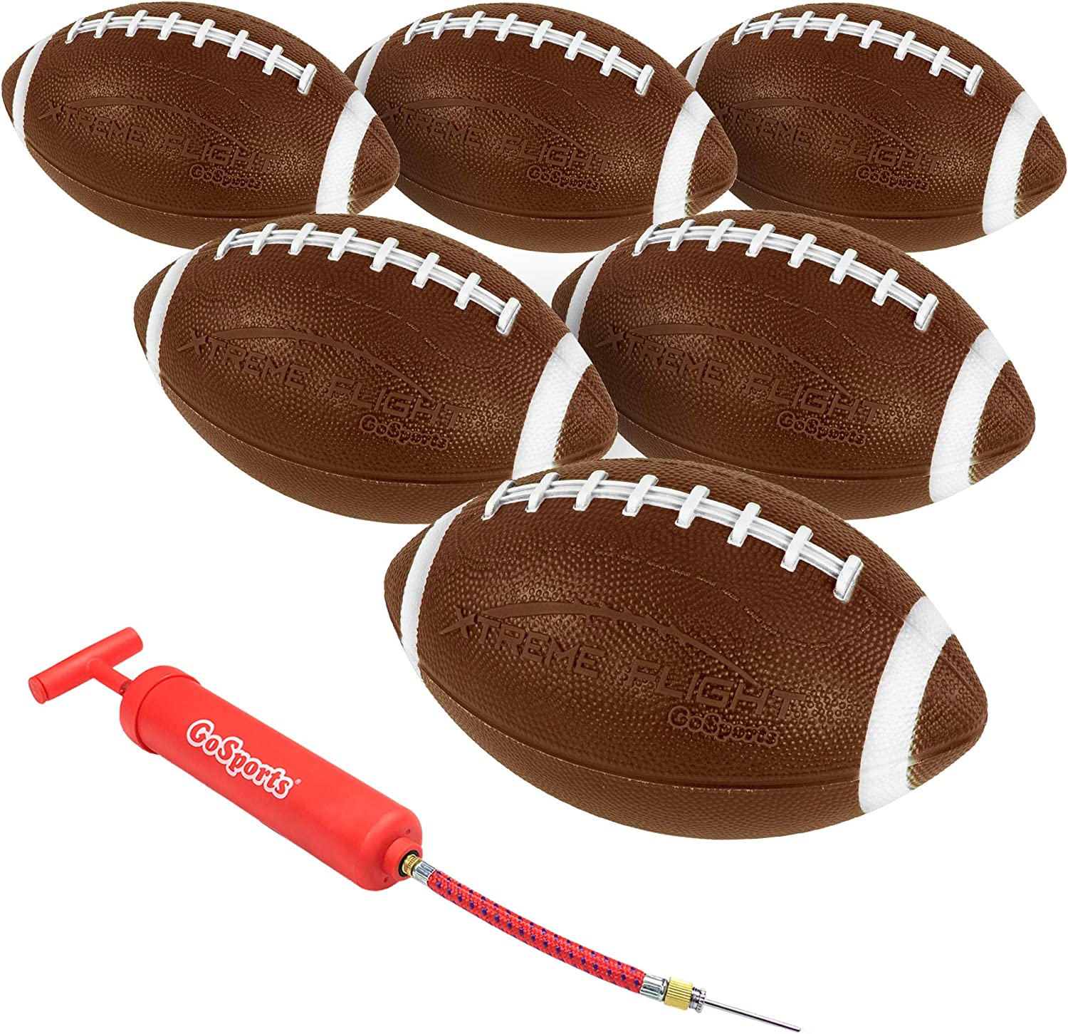 "GoSports Xtreme Flight Footballs 6 Pack, 9"" Rubber Inflatable Footballs"