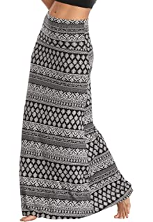 a8a2907b4dadaf Urban CoCo Women's Stylish Spandex Comfy Fold-Over Flare Long Maxi Skirt