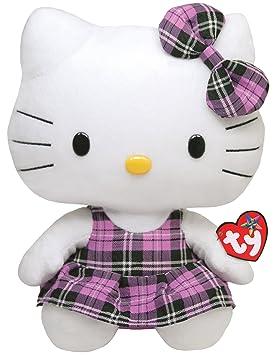 Hello Kitty Peluche vestido de cuadros, 28 cm, color lila (TY 90113TY)