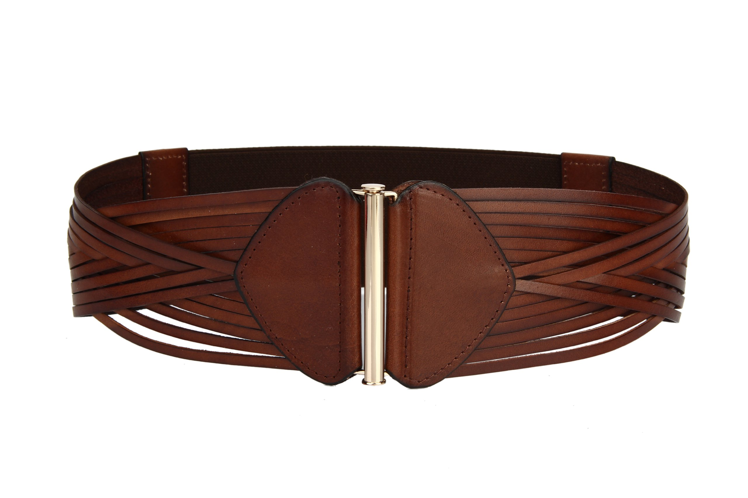 Women's Korean Style Simple Fashion Leather Wide Weave Belt (Brown)