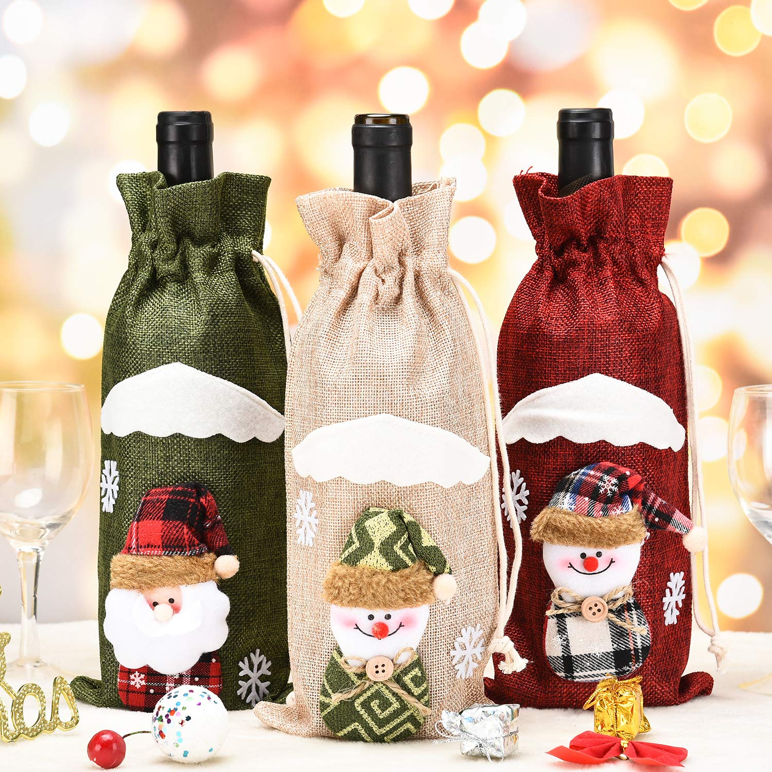 3pcs Christmas Wine Bottle Bag Santa Claus Snowman Tableware for Christmas New Year Decoration