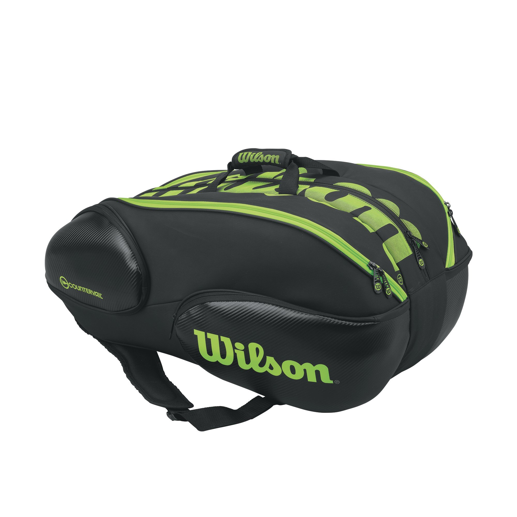 Wilson Blade Collection Racket Bag (15 Pack), Black/Green by Wilson