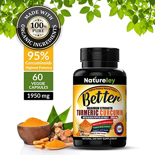 Organic Turmeric Supplements with Black Pepper Extract. Extra Strength High Potency 1950mg and 95 Curcuminoids Premium Occasional Joint Pain Healthy Inflammation Support, Gluten Free 60 Count