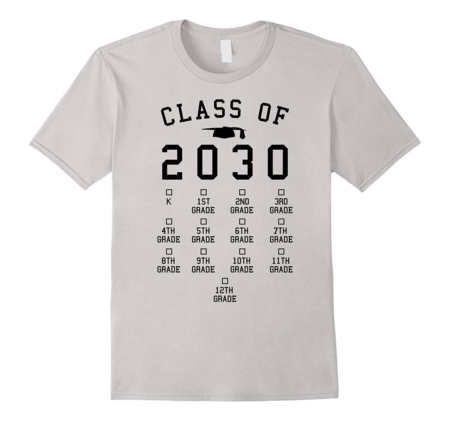 Class of 2030 Grow with me shirt with space for checkmarks-Teesml