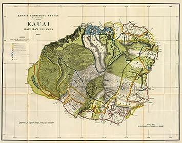 Amazon 1906 old historical detailed wall map kauai hawaii 1906 old historical detailed wall map kauai hawaii island various sizes reprint gumiabroncs Choice Image