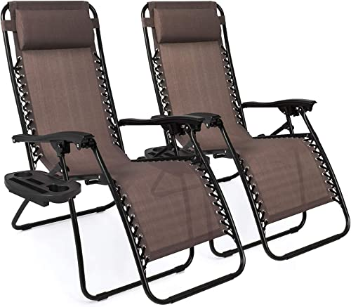 Best outdoor recliner: Best Choice Products Set of 2 Adjustable Steel Mesh Zero Gravity Lounge Chair Recliners w/Pillows and Cup Holder Trays