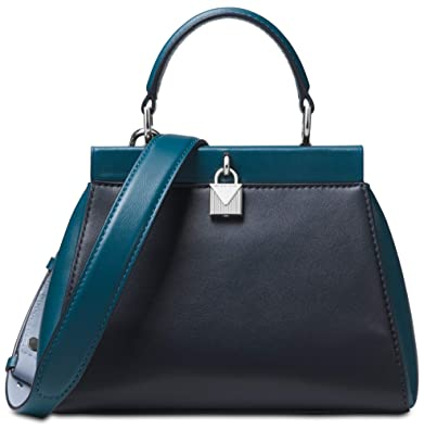 208e78531f3b0d Amazon.com: MICHAEL Michael Kors Gramercy Frame Top Handle Color-Block  Leather Satchel Bag, Admiral Teal Silver: Shoes