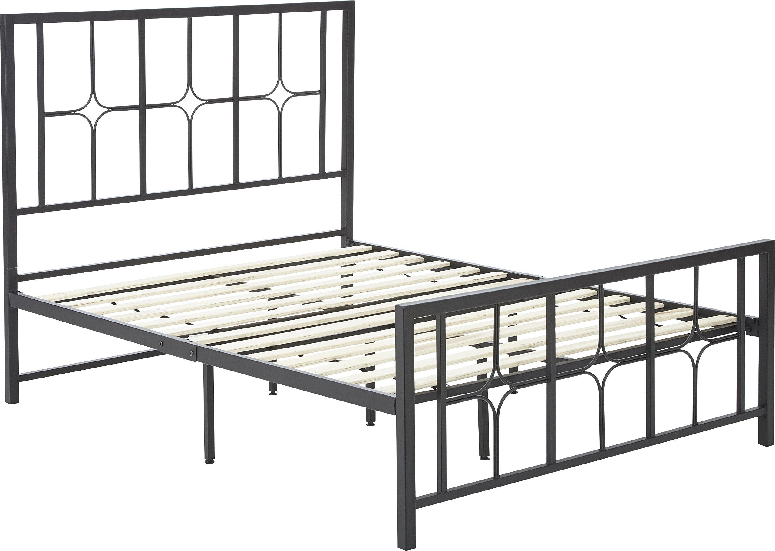Flex Form Lydia Metal Platform Bed Frame / Mattress Foundation with Headboard and Footboard, King
