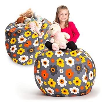 Swell Creative Qt Stuffed Animal Storage Bean Bag Chair Extra Large Stuff N Sit Organization For Kids Toy Storage Available In A Variety Of Sizes And Squirreltailoven Fun Painted Chair Ideas Images Squirreltailovenorg