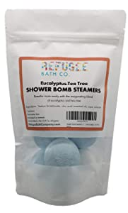 Shower Bomb Steamers | 7 Pack | Handmade in USA | Support Refugee Employment in USA (Eucalyptus-Tea Tree)