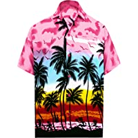 0e74c626f6f2 LA LEELA Hawaiian Shirt for Men Short Sleeve Front-Pocket Beach Palm Tree  Blue