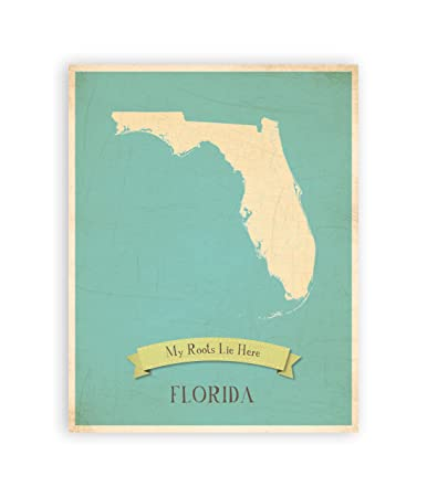 Amazon Com My Roots Florida Personalized Wall Map 11x14 Kid S