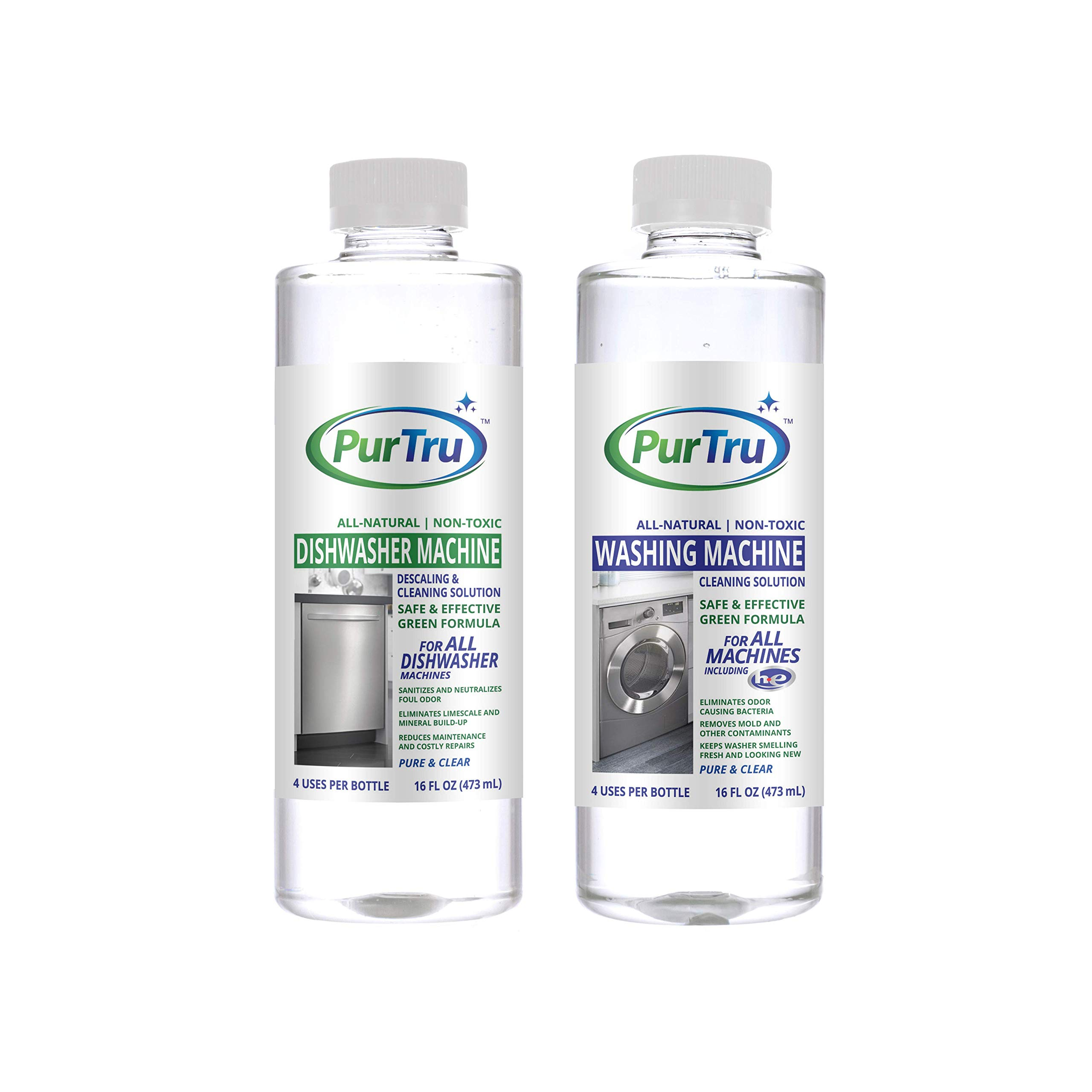 Dishwasher and Washing Machine Cleaner 2 (Pack) - All-Natural Non-Toxic and Safe Descaling & Cleaning Solution for All Types of Dishwashers and HE and Non HE Washers
