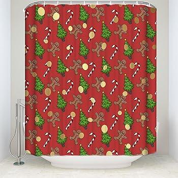 bmall christmas shower curtain funny christmas bathroom decorations holiday season patterns with gingerbread man xmas - Christmas Bathroom Decorations