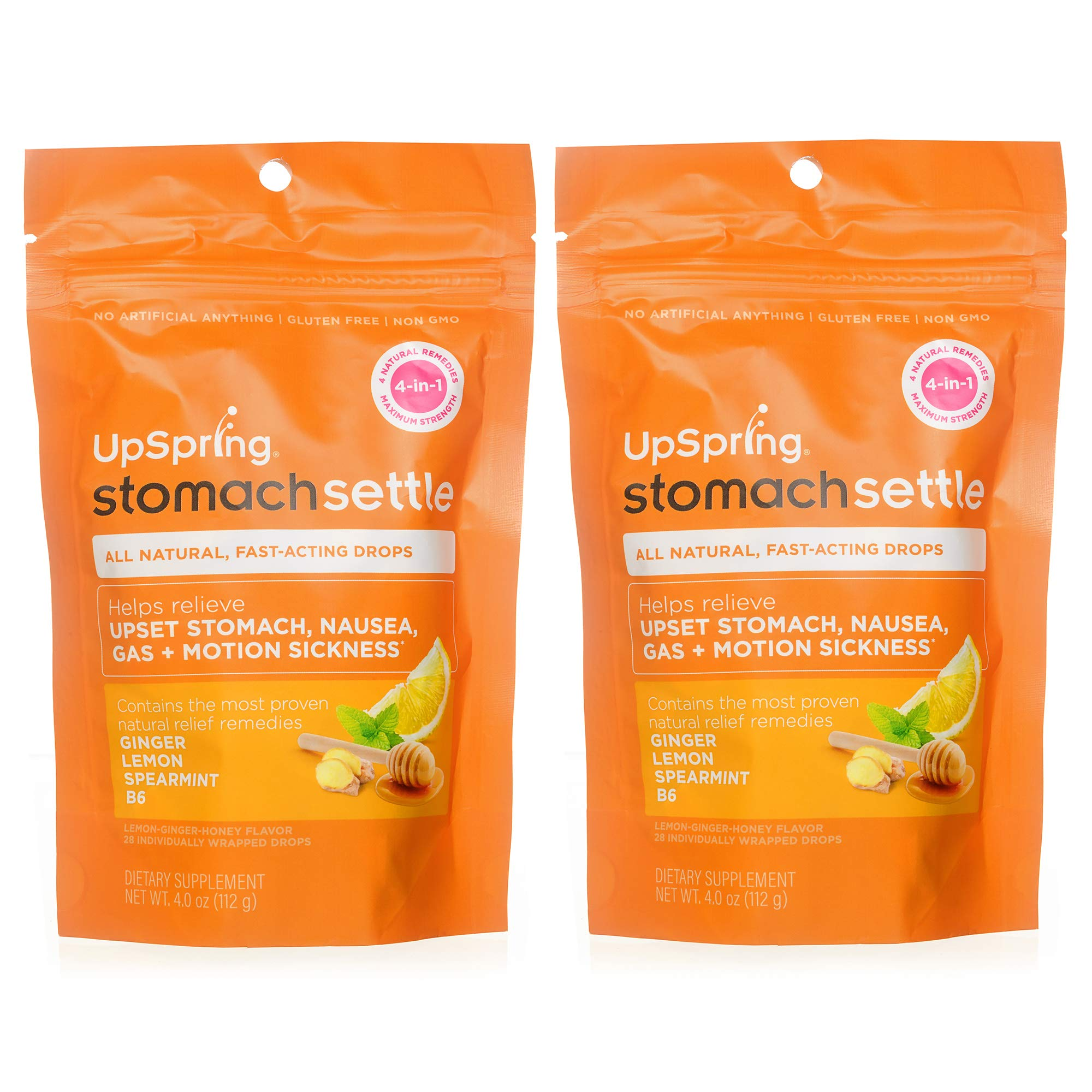 UpSpring Stomach Settle Drops for Nausea, Gas, Bloating, Morning Sickness and Motion Sickness Relief, 28 Count Individually Wrapped Drops for Tummy with Ginger, Lemon, Spearmint, Honey and B6, 2 Pack by UpSpring