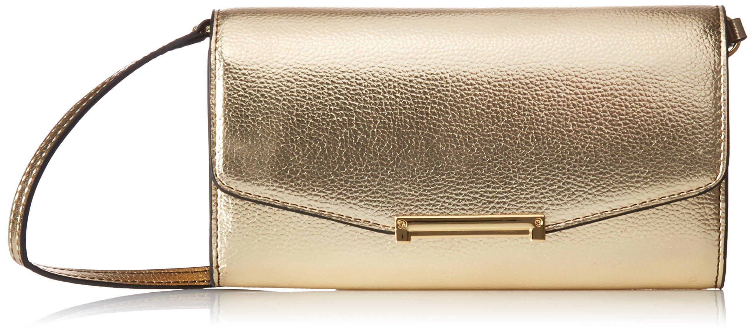 Ivanka Trump Mara Crossbody Wallet-Gold, Metallic Pebble