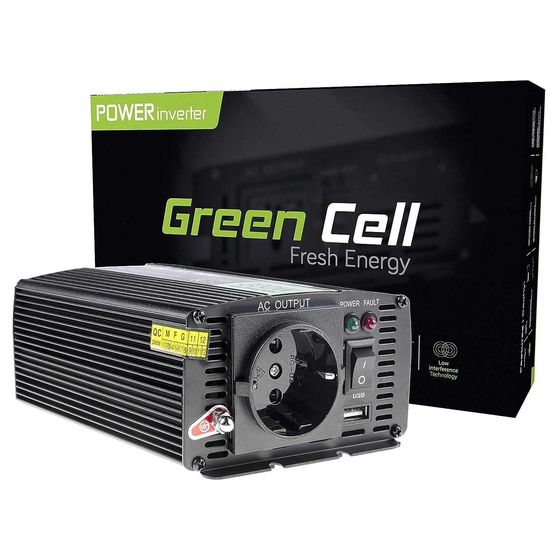 Green Cell/® 500W//1000W Modifi/ée Sinus Convertisseur de Tension DC 24V AC 230V Power Inverter sinuso/ïdale Onduleur Transformateur avec Connection USB et Pinces pour Batterie de Voiture